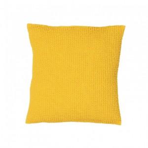 Cojín maia vivaraise color amarillo efecto nido de abeja. Cojín sobre fondo blanco. 940x940