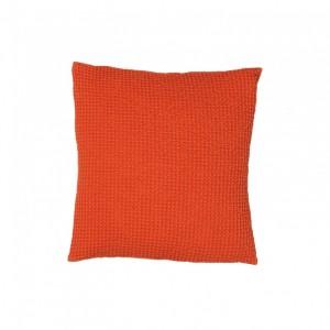 Cojín maia vivaraise color naranja efecto nido de abeja. Cojín sobre fondo blanco. 940x940
