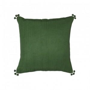 Cojín falbala vivaraise verde bambu brillo 45x45. Cojín sobre fondo blanco. 940x940