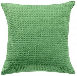 Cojín maia vivaraise 45x45 color verde efecto nido de abeja. Cojín sobre fondo blanco. 800x794