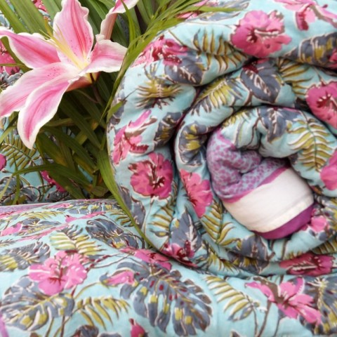 Plaid estampado floral tropical masaso