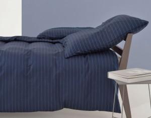 funda nordica algodon satinado pin stripe azul