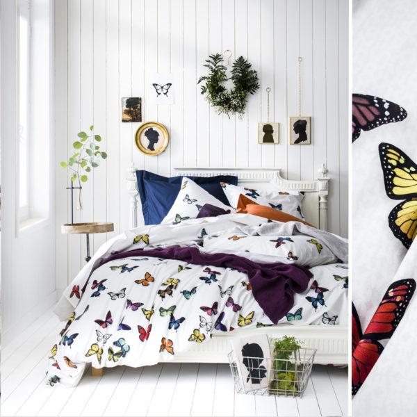 Cama vestida con funda nórdica essix thais con diseño de mariposas