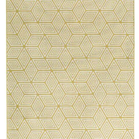 alfombras de diseño kp geométrika con cubos amarillos