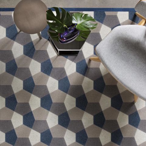 alfombra geométrica kp de lana super fina