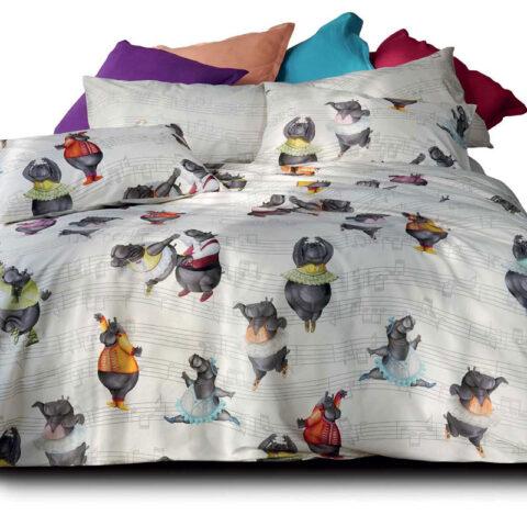 Cama con funda nórdica de algodón percal con diseño de hipopótamos bailando de tessitura toscana teleire